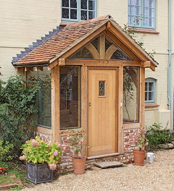 Small Enclosed Front Porch Entry: Oak Framed Porches