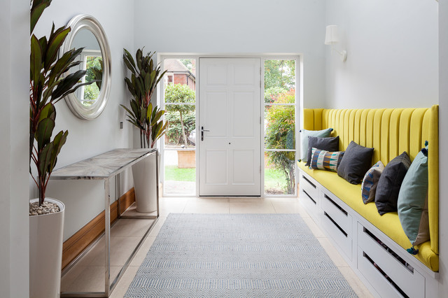 Design ideas for a medium sized contemporary foyer in London with grey walls, a single front door, a white front door and beige floors.