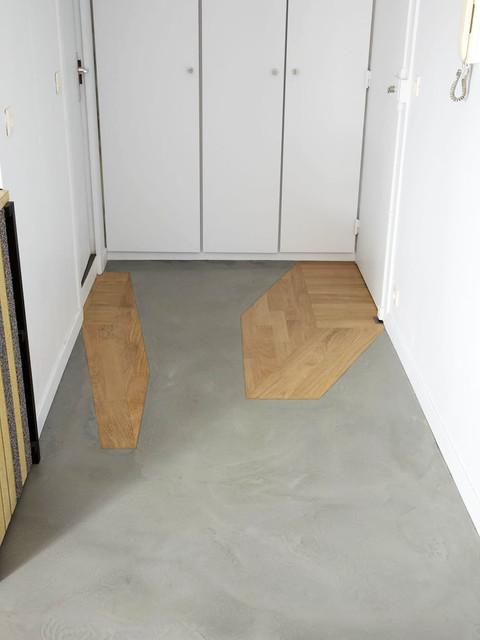 pose de b ton cir et incrustation de parquet. Black Bedroom Furniture Sets. Home Design Ideas