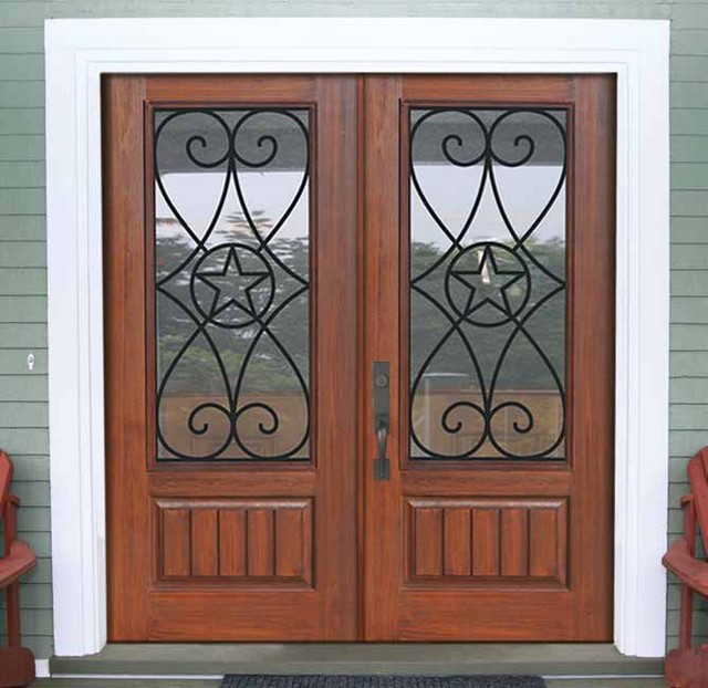 1 panel 3 4 lite austin fiberglass double exterior home for Home entry doors