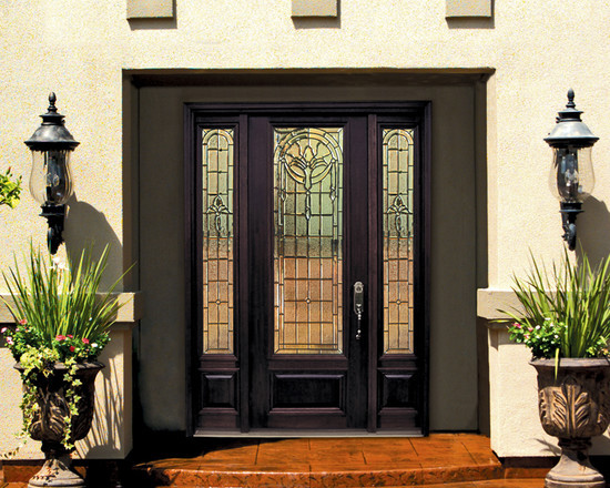 1 Panel 3/4 Lite Palacio Fiberglass Entry Door with Side lights ...