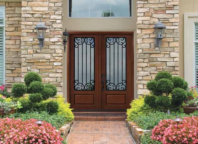 1 panel 3 4 lite valencia fiberglass double front entry door tall 80 mediterranean entry for Fiberglass double doors exterior