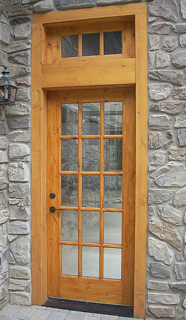 15-Lite Knotty Alder Entry Door with Transom rustic-entry & 15-Lite Knotty Alder Entry Door with Transom - Rustic - Entry ...