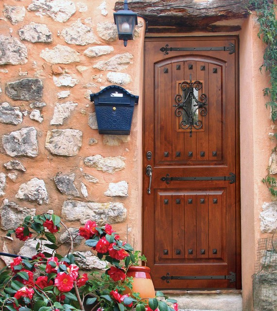 Mediterranean Style Entry Doors: 2 Panel V-Grooved Clavos Knotty Alder Single Door Tall 80