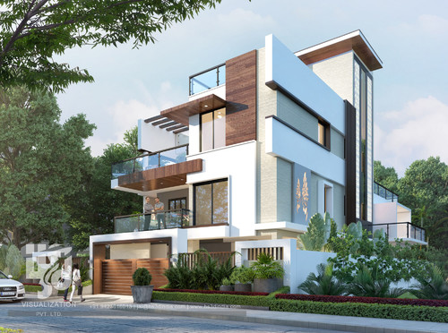 Home elevation with wood facade