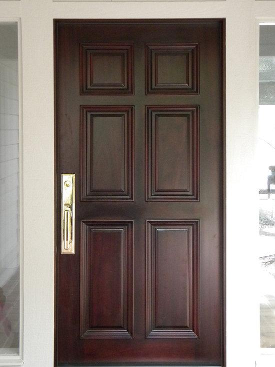 6 Panel front entry door in Mahogany -