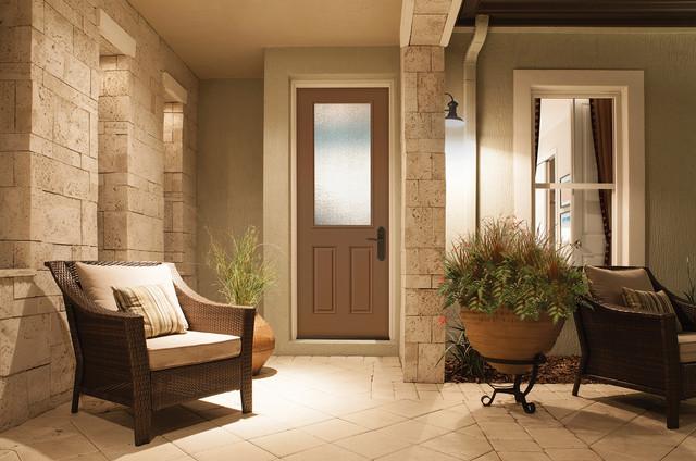 8 Foot 1 2 Lite Door Granite Glass Brown Mocha Paint