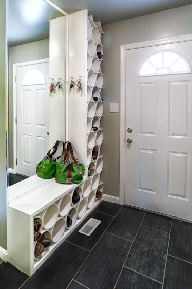 I Am Completely In Love With This Built In Shoe Storage Shelf And Bench,  Custom Made By Circle Design Design Studio (via Houzz) Using PVC Pipe!