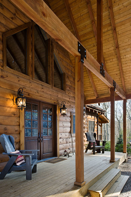 Adler Rustic Entry Charlotte By Log Homes Of America
