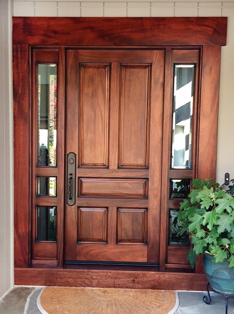 African Mahogany 5 Panel Entry Door Transitional Entry