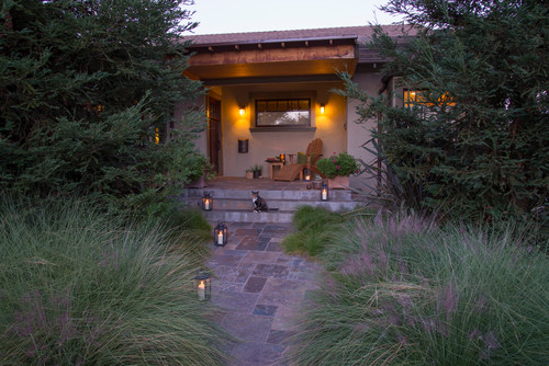 lighted walkway with lanterns for light & personality