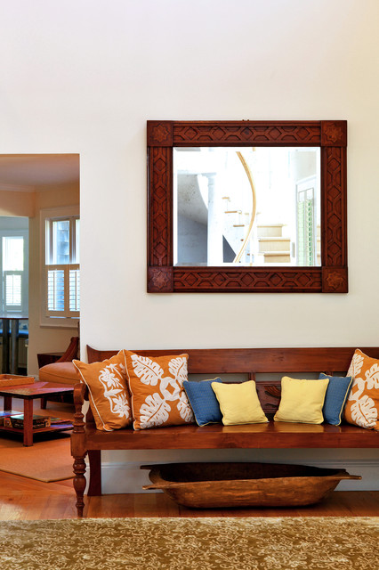 Coastal entry hall photo in New York with beige walls
