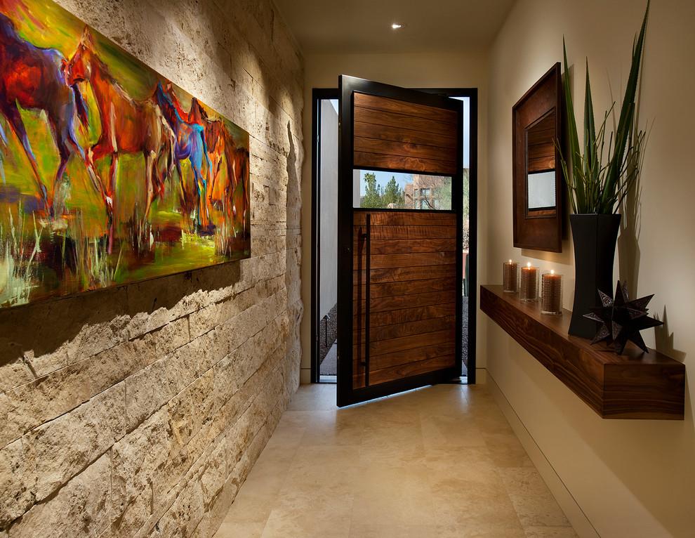 Southwest beige floor entryway photo in Phoenix with beige walls and a dark wood front door