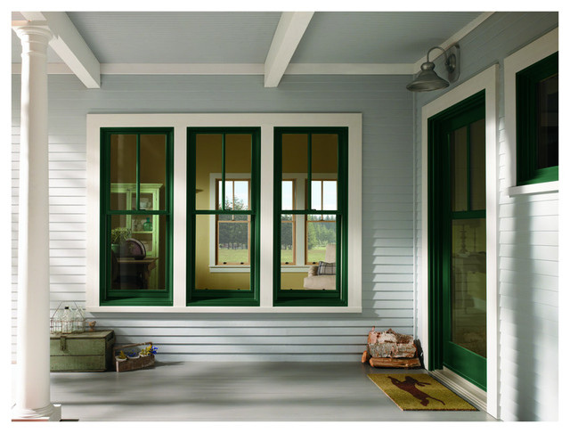 American farmhouse home style traditional entry for Window styles for homes