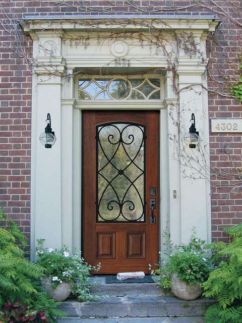 Arch Lite Charleston Cherry Walnut Door 6 8 Tall Traditional