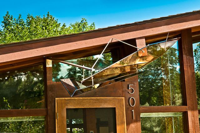 Art Glass Awning for Mid Century Modern Ranch House midcentury-entry