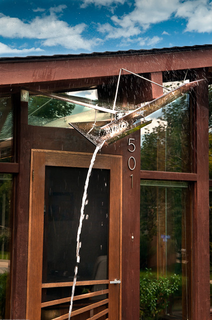 Art glass awning for mid century modern ranch house for Glass awnings for home