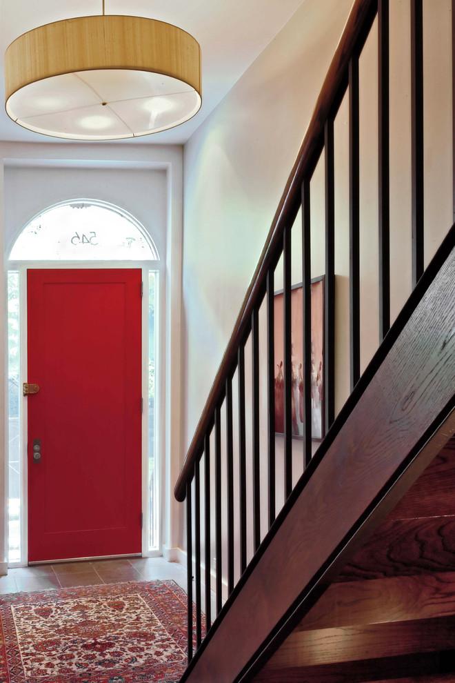 Trendy single front door photo in New York with a red front door