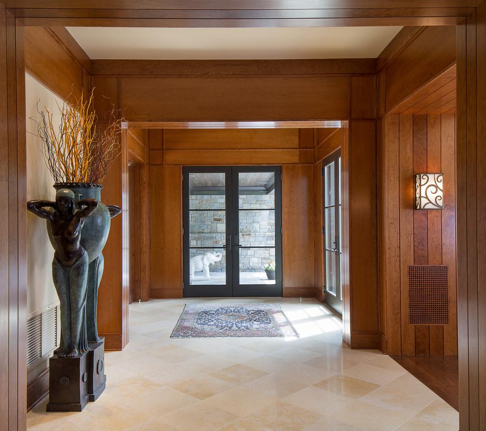 Asian beige floor entryway photo in Baltimore with a glass front door