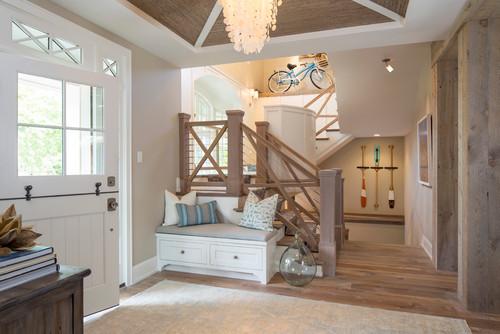 coastal style staircase design wire