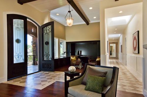sala de estar com piso cerâmico combinado com piso de madeira