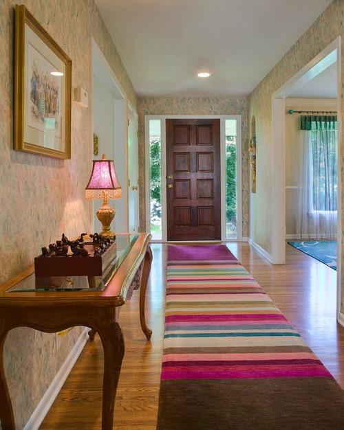 alfombra larga para la entrada de la casa multicolor