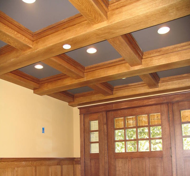 Beams and molding white oak traditional entry for Box beam ceiling