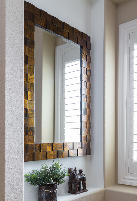 Beautiful oxidized copper mirror in entry contemporary for Interior designs by vickie