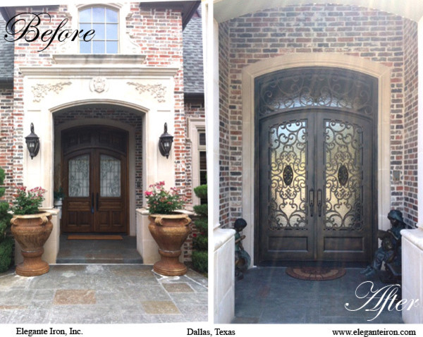 Before & After Iron Door traditional-entry
