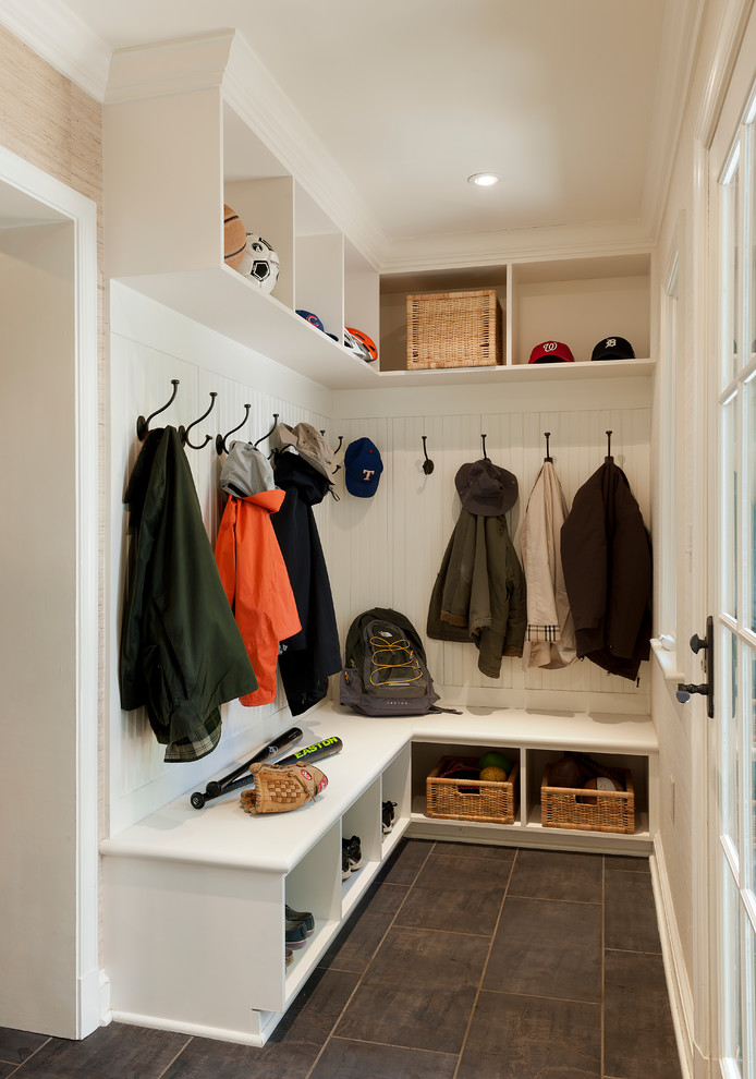 Mudroom - traditional gray floor and porcelain tile mudroom idea in DC Metro with white walls