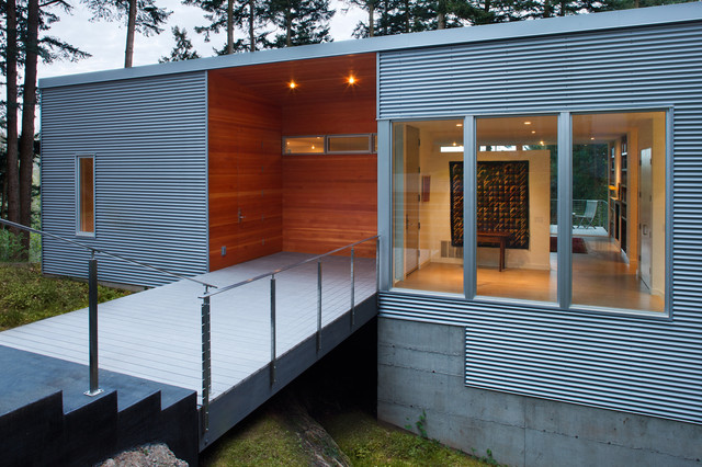 Best Rd - Exterior Entry at Wood Box Detail contemporary-entry