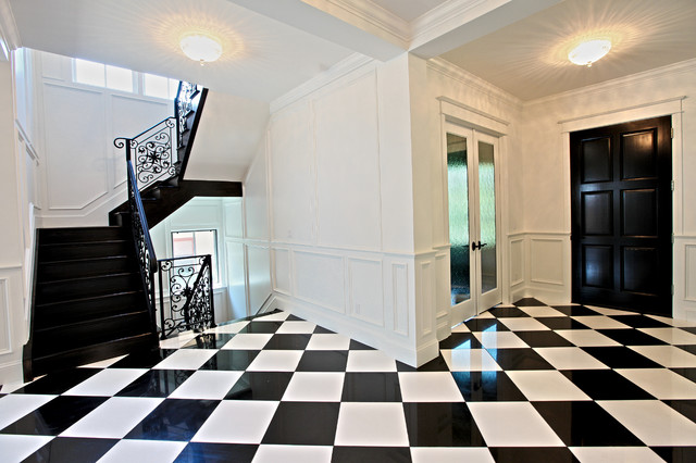 Black And White Floor Tile Contemporary Entrance