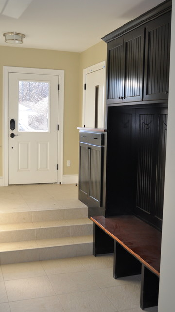 Black Custom Built In Mudroom Storage With Bench
