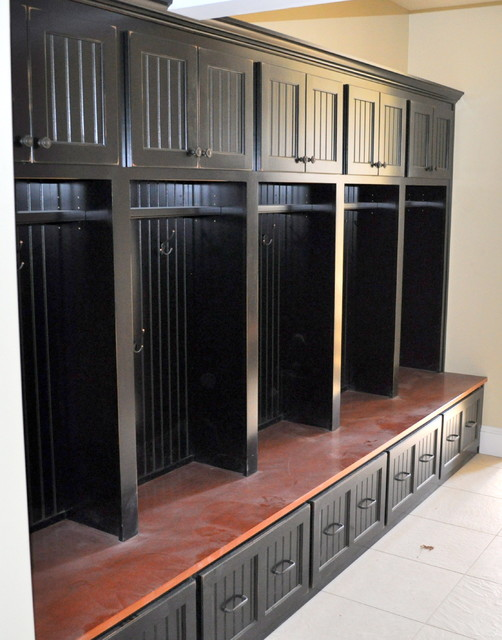 Mudroom Storage Units : Black custom mudroom storage unit