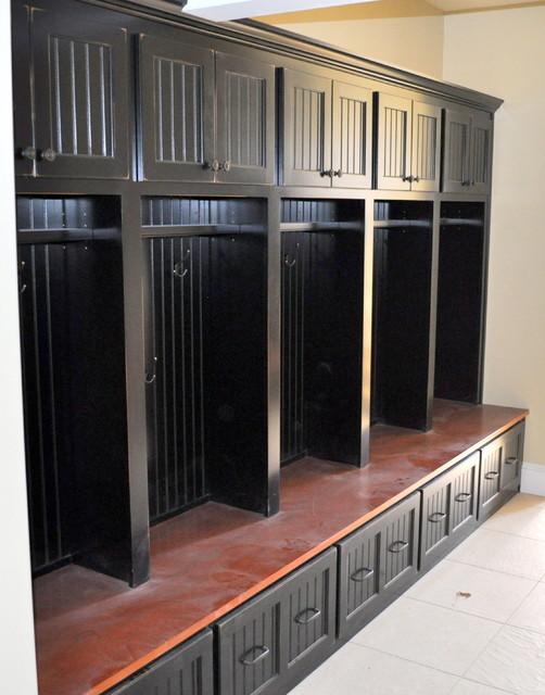 Black Custom Mudroom Storage Unit Entry
