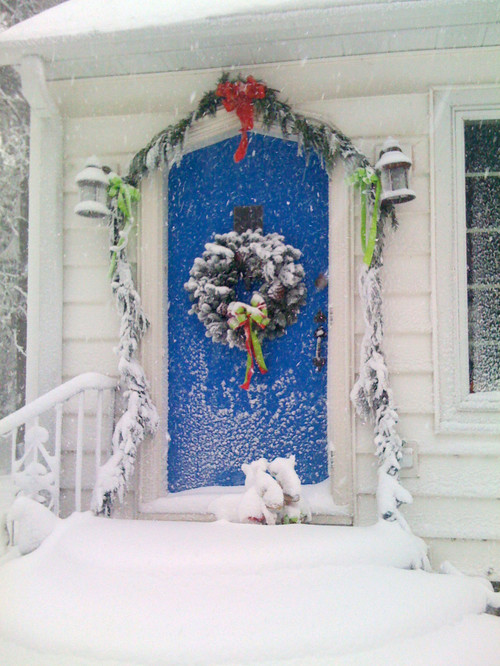 Blue Christmas door traditional entry