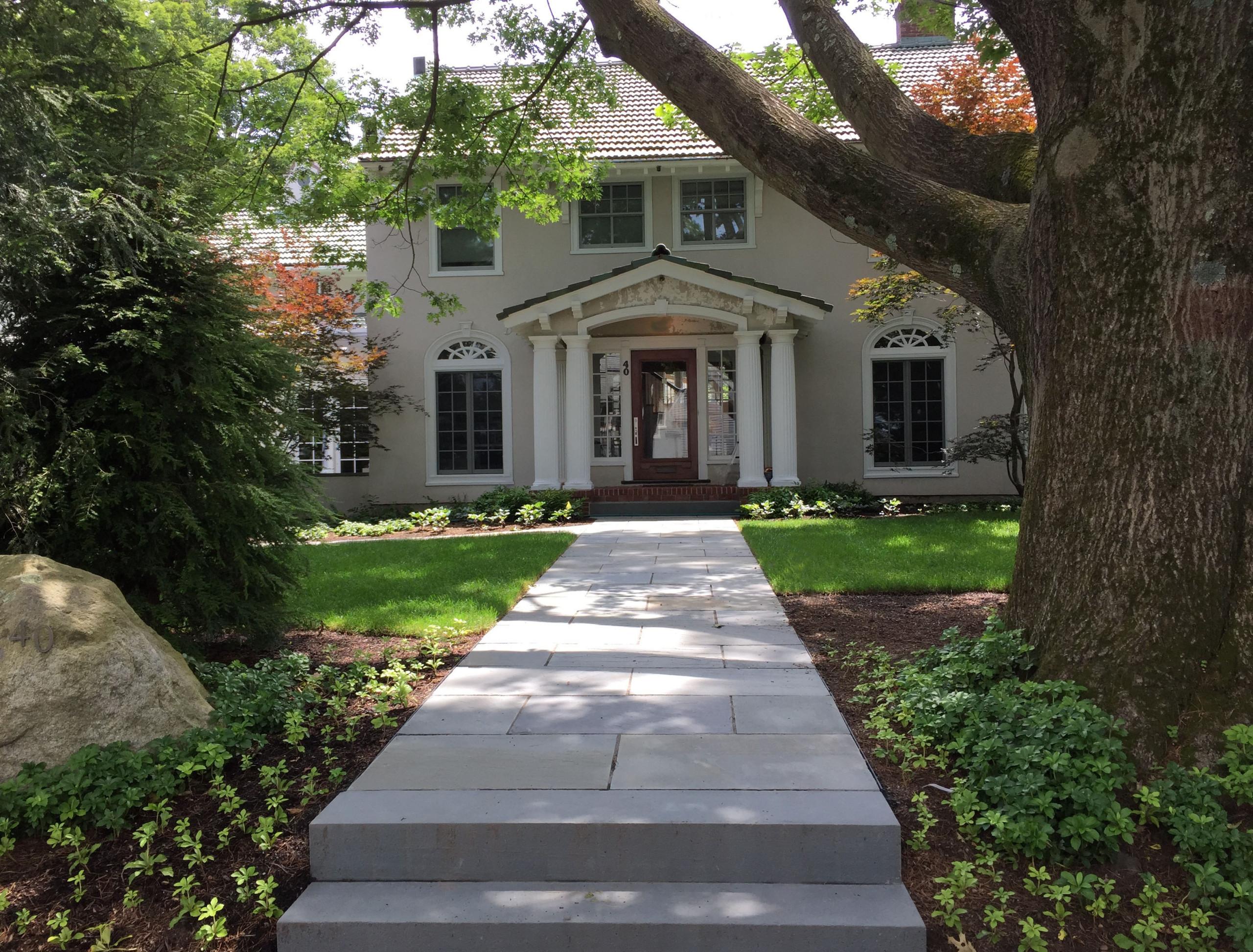 bluestone walk to elegant front door