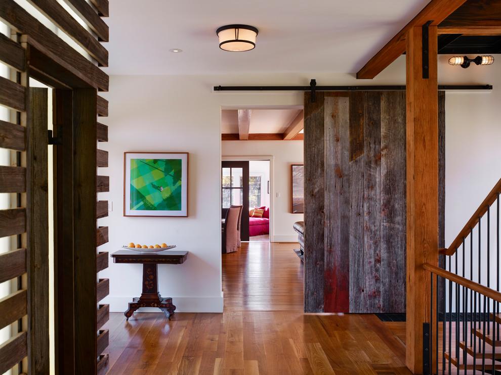 Entryway - cottage medium tone wood floor entryway idea in Philadelphia