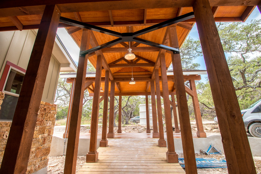 Inspiration for a rustic entryway remodel in Austin