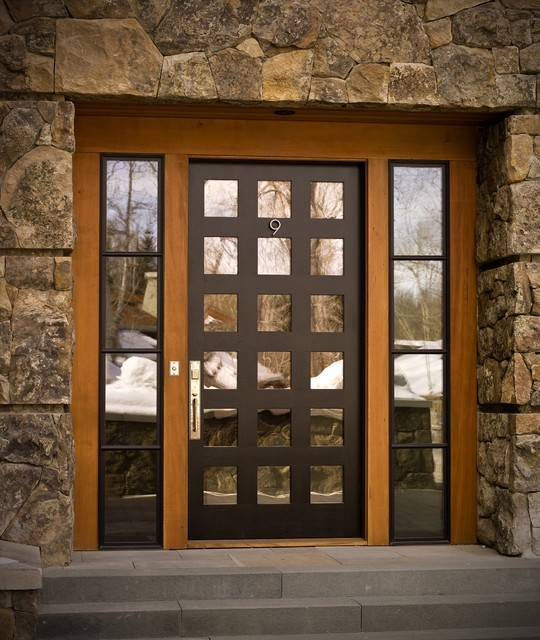 Bronze hardware on black door - Contemporary - Entry - other metro - by Rocky Mountain Hardware