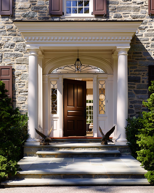 Bryn mawr stone colonial traditional entry for Colonial entry door