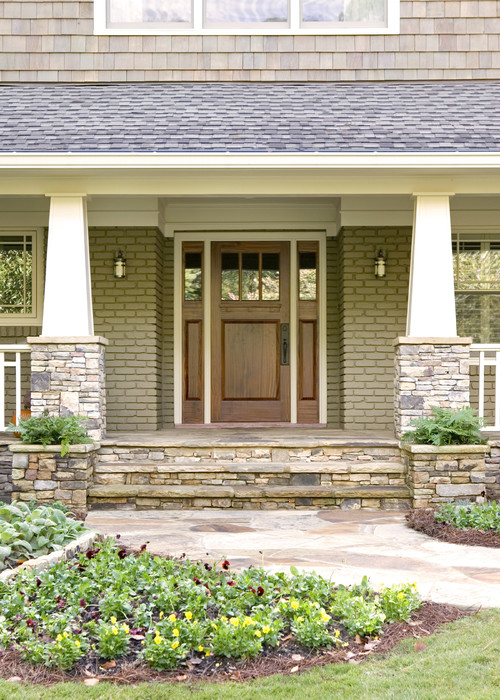Stacked Stone Porch Columns : Height of stacked stone and tapered columns