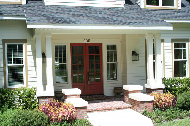 Bungalow With Front Porch At Entrance Doors