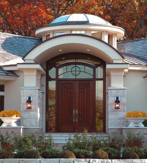 Elegant Entryway Photo In Minneapolis With A Dark Wood Front Door