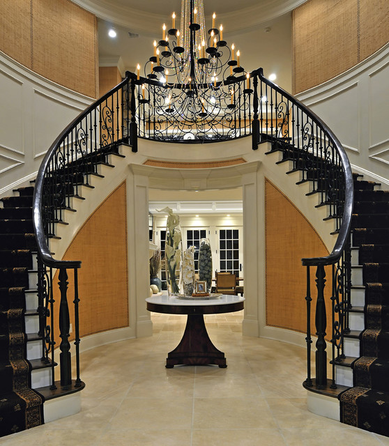 Carolyn miller interiors mediterranean entry new for Double curved staircase