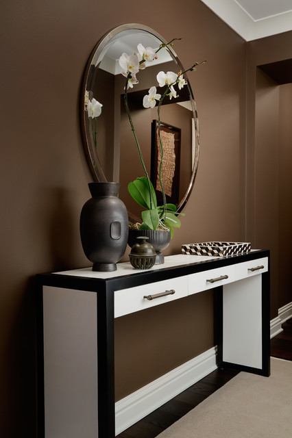 Mid-sized trendy dark wood floor and brown floor entry hall photo in Chicago with brown walls