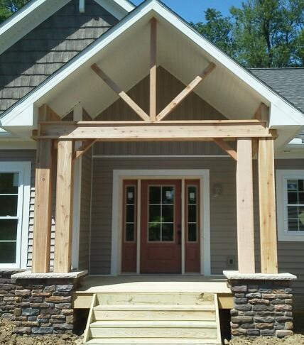 Cedar porch posts traditional entry cleveland by for Traditional porch