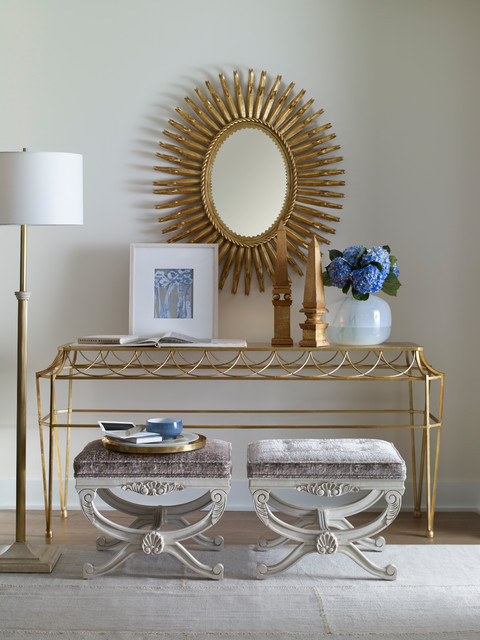 Mid-sized elegant light wood floor and beige floor entry hall photo in Atlanta with white walls