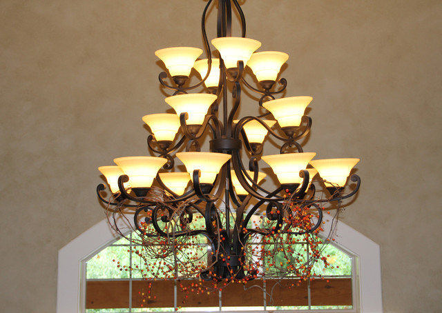chandelier decorated for fall