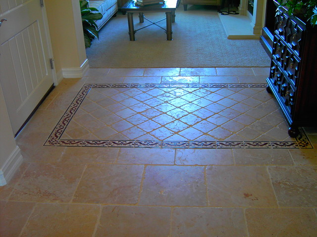Entry Floor Tile Designs : Chiseled edge travertine tile with custom entry inset